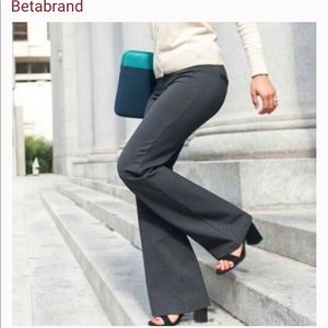 Betabrand Gray Dress Yoga Pant Boot Flare Petite